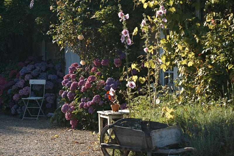 Jardin ferme de kerscuntec brouette chaise hortensias