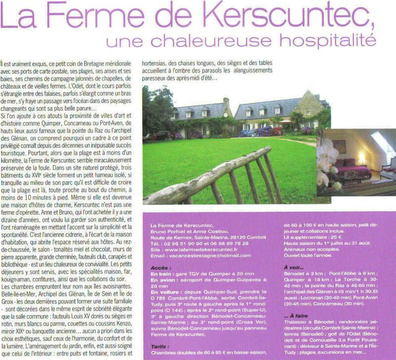 article sur la maison d'hôte la ferme de kerscuntec